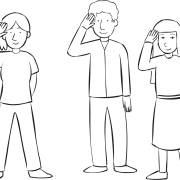 Three people using right hand to salute, as part of Shipwreck energiser game