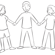 Three people holding hands and leaning back in warm-up stretch exercise called Yurt Circle