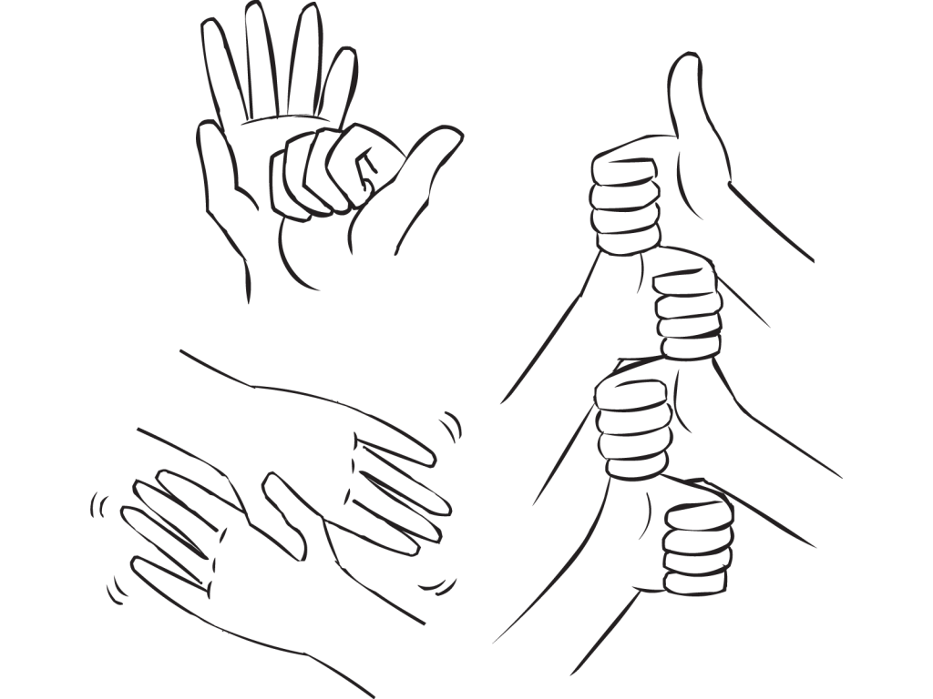 Three images of several hands involved in fun handshake greetings as part of Five Handshakes In Five Minutes ice-breaker