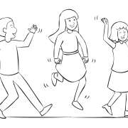 Three people walking strangely in group initiative called Funny Walk