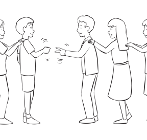 Two lines of people playing a version of Rock Paper Scissors in fun group game called Ro Sham Bo Congo