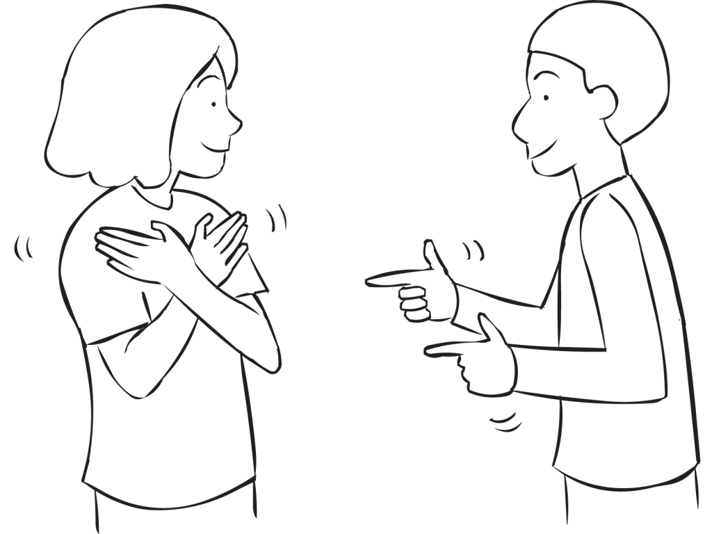 One person with crossed arms and another with fingers pointing forward playing Slap Bang game