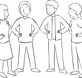 People forming tight circle by touching elbows with neighbours as part of quick circle-forming exercise called Velcro Circle