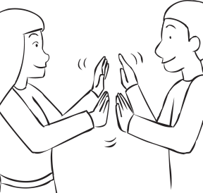 Two people clapping hands with each other as seen in Clap Trap energiser game