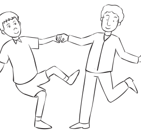 Two people holding hands and leaning Off-Balance from each other.