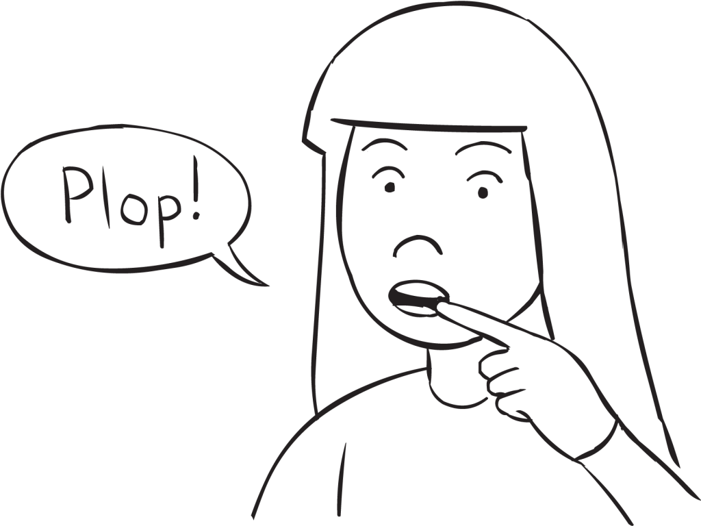 Woman pulling finger from mouth to make plopping sound, as occurs in PDQ group game