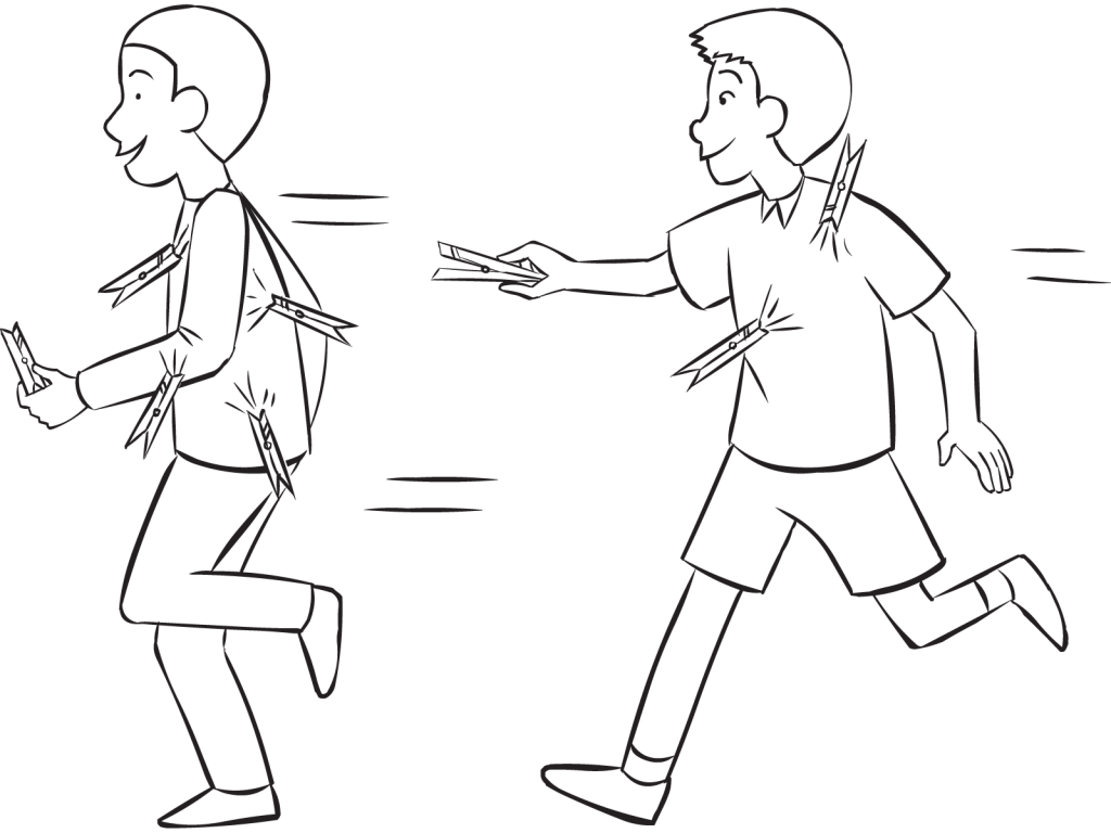 Two men running around in tag and PE game called Clothes-Peg Tag
