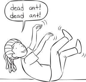 Woman lying on ground with arms and legs in air playing Dead Ant Tag game