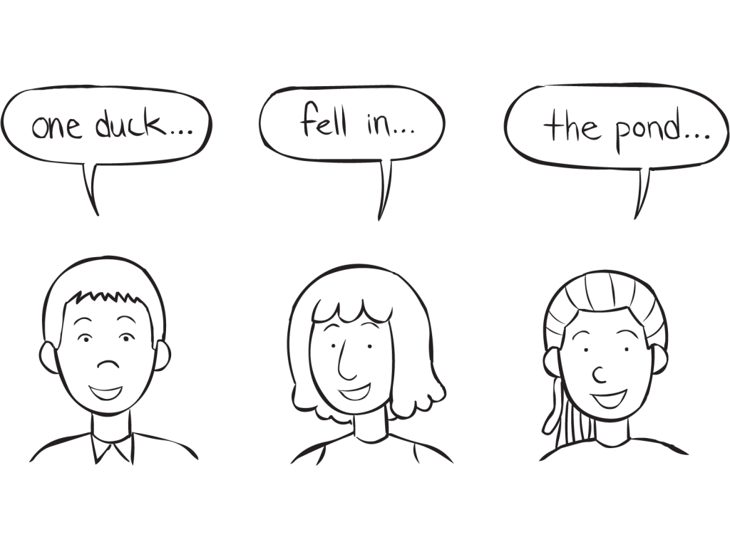 Three people saying the words One Duck, Fell In, The Pond as part of fun circle game