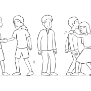 Group of people standing in a line, trying to pass one another as seen in TP Shuffle on a Rope group initiative