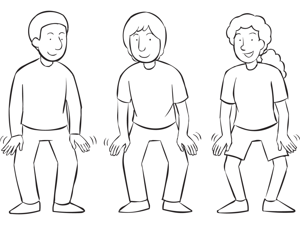 Three people using hands to tap their knees as part of large group exercise called Coming & Going of the Rain