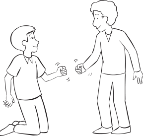 Two people playing Rock-Paper-Scissors Five Lives