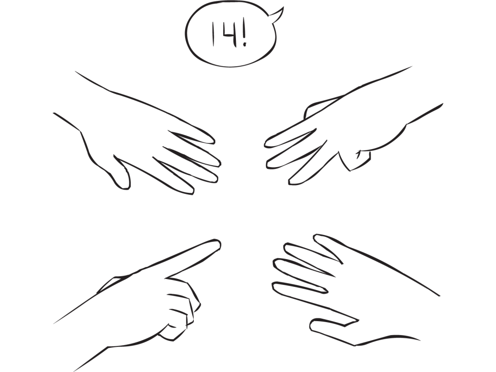 Four hands with outstretched fingers involved in fun small group mathematical exercise called Your Add as also featured in Around The World