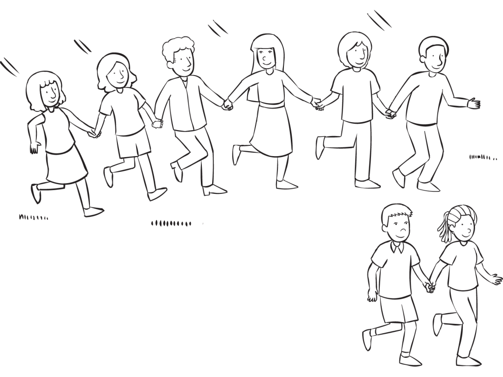 Line of people holding hands chasing pairs in classic tag and PE game called Blob Tag