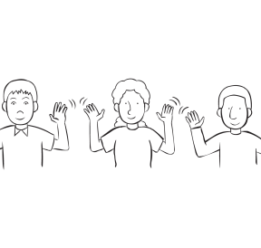 Three people imitating the same gesture with hands in the air, as seen in Negotiation team-building activity