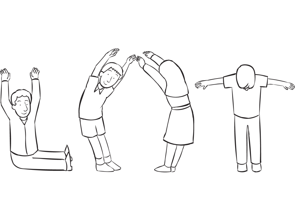Four people orienting their bodies to spell a word, as featured in team-building exercise Body English