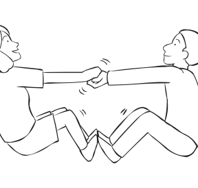 Two people holding hands trying to pull themselves off the ground in team-building exercise called Everybody Up