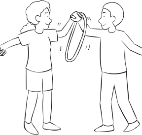 Two people holding hands and passing a hula hoop as seen in fun group initiative called Circle The Circle