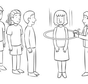 Man passing hula hoop over every person in small group, as seen in group initiative called Through The Wringer