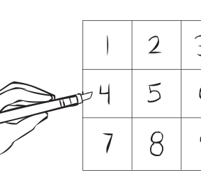 Large square with nine boxes with number 1 to 9 marked inside them, as used in Magic Nine Numbers team puzzle