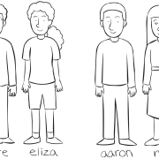 Two sets of pairs standing together, as part of playing Name Train group initiative