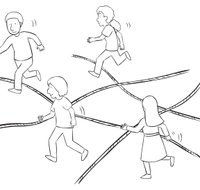 Group of people traversing an area of ropes laying on the ground, in team-building group initiative called Watch Your Step