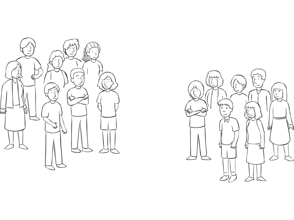 Two groups of people standing a distance apart, as the result of using a fun Getting Into Teams strategy
