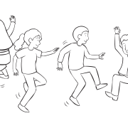 People jumping up and down as part of fun tag and PE game called Jump Tag game