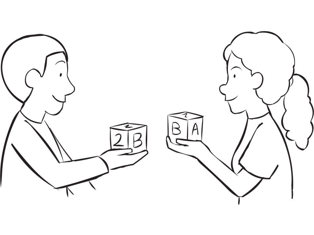Two people showing a wooden block they are holding and sharing as part of fun ice-breaker called Mingle and Match