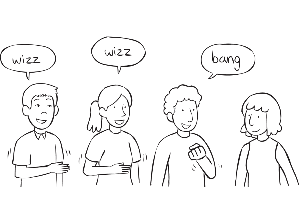 People passing a series of gestures around a circle, as seen in fun group circle game called Wizz Bang