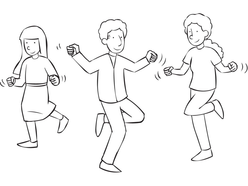 People moving their bodies as if they were Skipping Rope