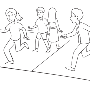 People chasing one another on the lines of a basketball court called Basketball Court Tag, one of many running tag games