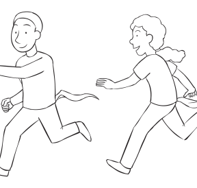 Woman chasing man trying to grab his fabric tail, as seen in fun tag and PE game called Tail Tag