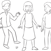 Three people with big smiles, playing Super Smile group game, one of many great energizers, warm-up games, stretches
