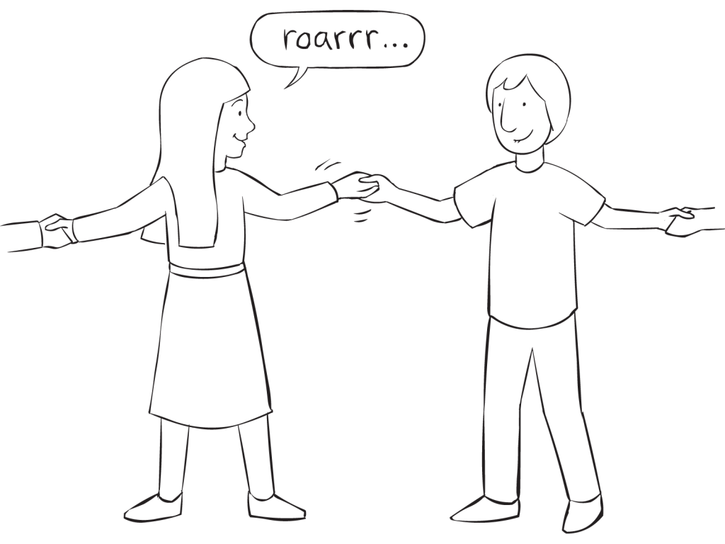 Two people holding hands playing fun circle game called Dinosaur Game
