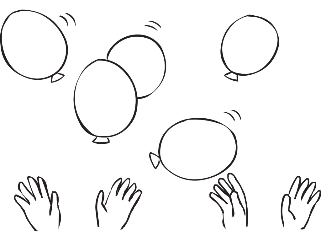 Balloons being kept afloat by group of hands, as featured in team-building exercise called Frantic