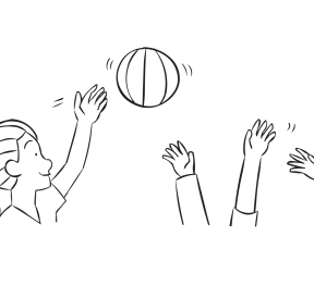 Woman hitting beach ball in air above other hands, as featured in team-building activity Moonball