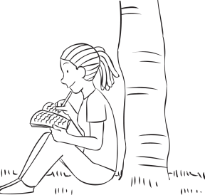 Woman sitting at base of tree writing notes as part of Journalling her reflection time