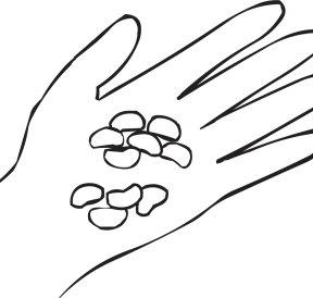 One hand with beans in the palm as seen in fun large group ice-breaker game called Jelly Bean Trade game