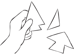 Hand holding pieces of fun problem-solving lateral thinking puzzle called Arrowheads Puzzle, one of many fun team-building puzzles