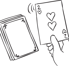 Two of hearts is pulled from a deck of cards, as could be seen in Prediction, one of many fun team-building problem-solving activities