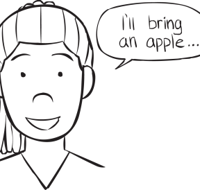Woman saying that she will being an apple to a party, in group lateral thinking game called Come To My Party game