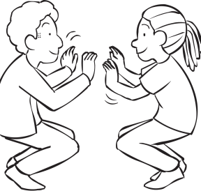 Two people squatting on the balls of their toes facing each other in a fun partner energiser called Squat Thrust game
