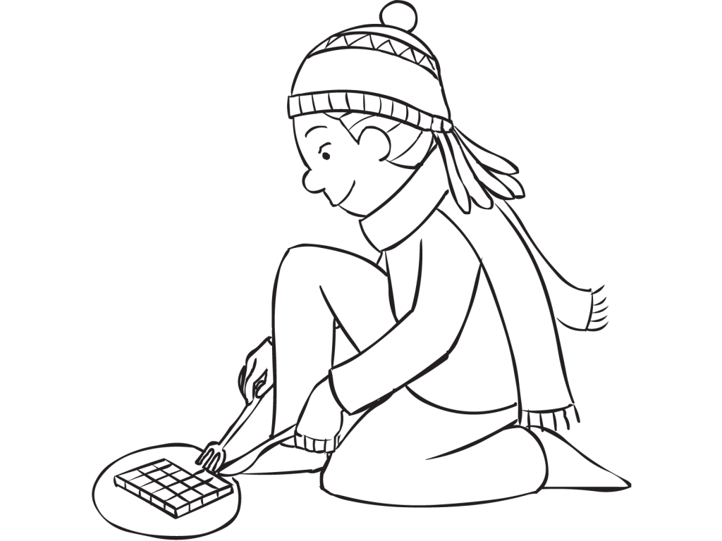 Girl wearing a beanie using a knife and fork in game of Chocolate Circle