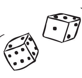 Pair of dice being rolled in Double Dice Game
