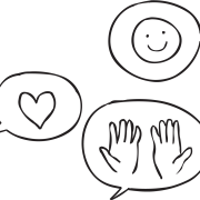 Three talk bubbles featuring a heart, happy face and hands as discussed in Three H Debrief