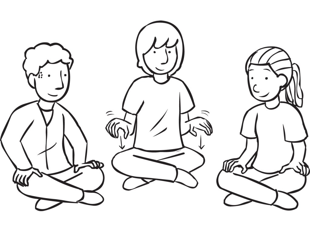 Three people sitting in a circle tapping their hands in energiser called Galloping Hands