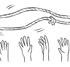 Rope loop thrown in air above hands of group as seen in Pizza Toss