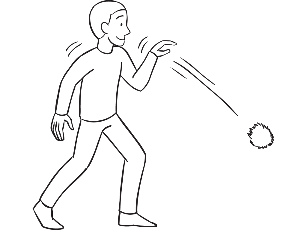 Man throwing ball downwards, as seen in tag & PE game called Monarch Tag