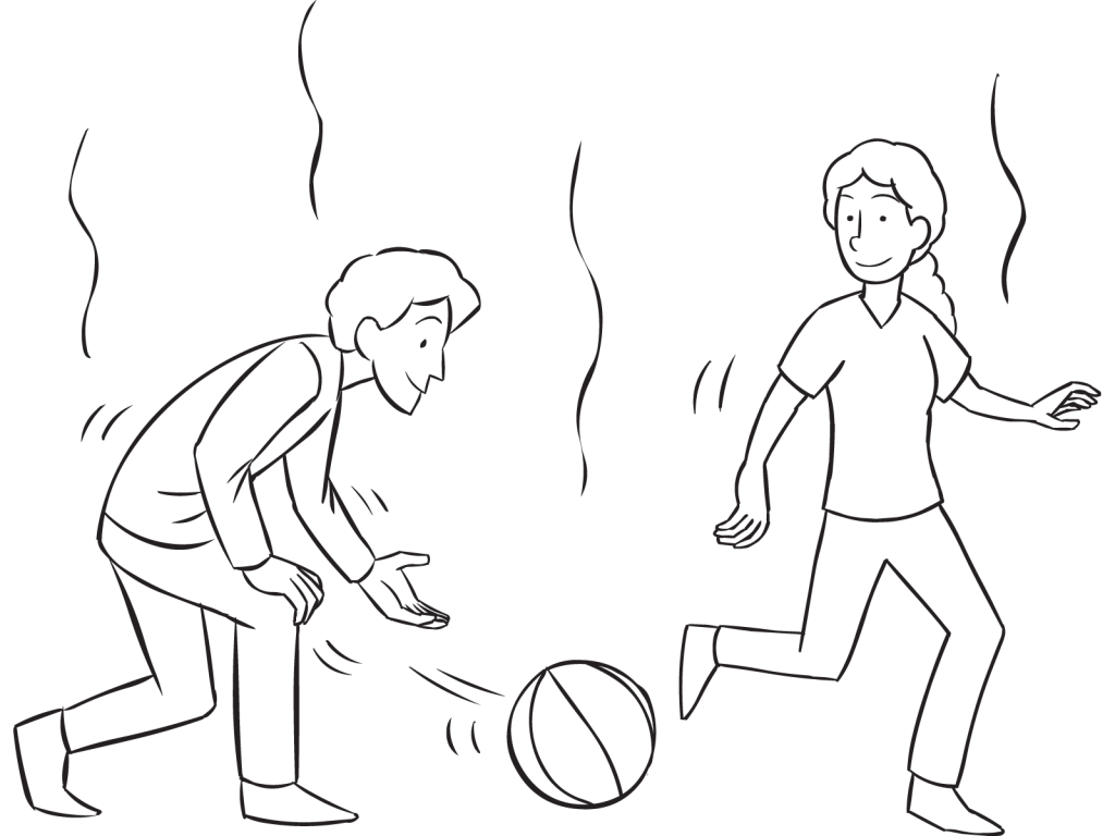 Man hitting ball with open hand towards another person, as seen in fun tag & PE game called Ga-Ga